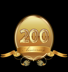 200th golden anniversary birthday seal icon vector image