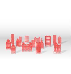 A 3d paper city skyline vector