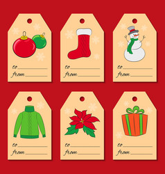 a set of six christmas or new year tags with vector image