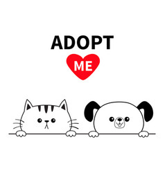 Adopt me dog cat face head hands paw holding line vector