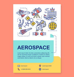 Aerospace industry poster template layout cosmos vector