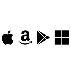 Apple amazon play store and microsoft store logo vector