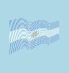 argentina flag on blue background wave str vector image