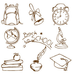 back to school doodle sketches set vector image