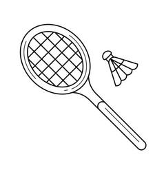 Badminton line icon vector