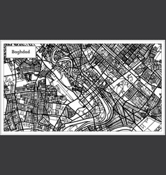 baghdad iraq city map in black and white color vector image