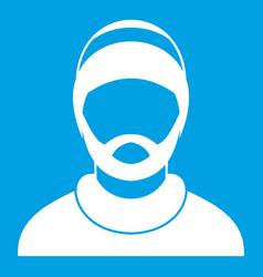 bearded man avatar icon white vector image