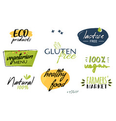 Bio and eco organic labels collection natural vector
