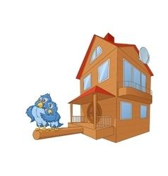 Birds and bird house deluxe 2 vector image