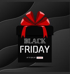 black friday sale banner gift box on black curve vector image