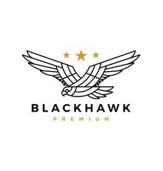 black hawk eagle monoline flying roar star logo vector image