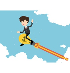 Business man flying with powerful ideas on bluesky vector