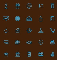 Business start up blue line icons vector image
