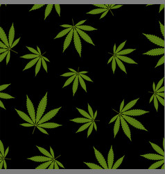 Cannabis seamless pattern marijuana leaf green vector
