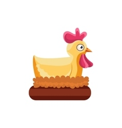 Chicken Nesting Simplified Cute vector image