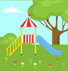 Children s slide for playground with ladder vector