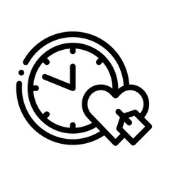 Clock time heart icon outline vector