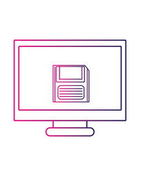 color line computer technology with screen and vector image