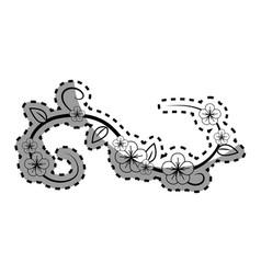 contour flowers branches decoration vector image