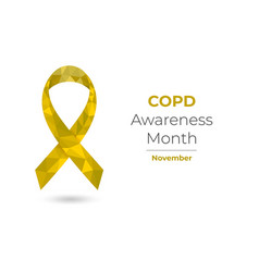 Copd awareness month yellow low poly ribbon vector