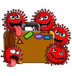 Corona virus family with travel bag vector
