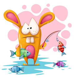 Cute crezy rabbit with fishing road vector