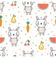 Cute summer seamless pattern with little bunny vector