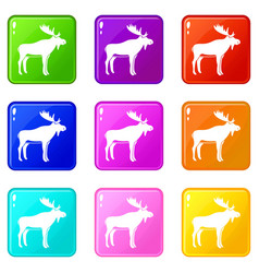 Deer icons 9 set vector