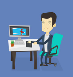 designer using digital graphics tablet vector image