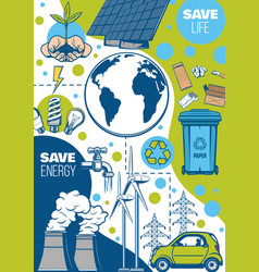 Earth environment energy saving green power vector