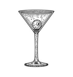 Eye ball martini glasssketch vector