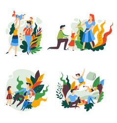 Family isolated icons parents and children vector