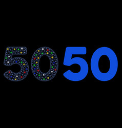 Flare mesh 2d 50 digits text icon with flare spots vector