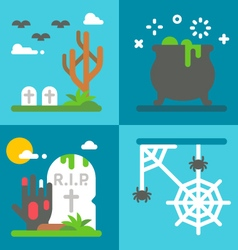 Flat design Halloween decor set vector image