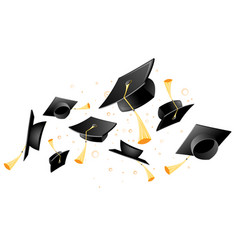 Flying academic mortarboard - graduation hat vector
