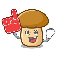 Foam finger porcini mushroom mascot cartoon vector
