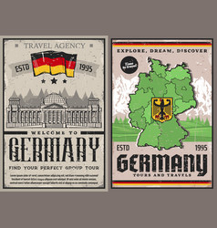 Germany travel retro posters berlin city tours vector