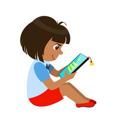 girl sitting reading and electronic book part of vector image