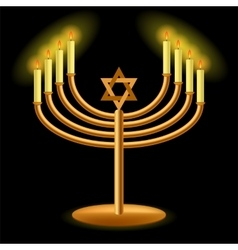 Gold Menorah with Burning Candles vector