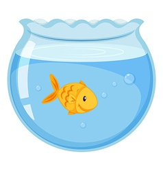Goldfish swimming in the glass bowl vector
