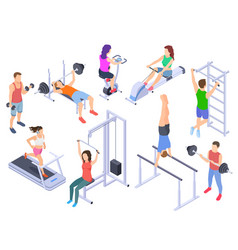 Gym isometric fitness people training physical vector