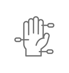 Hand acupuncture line icon isolated on white vector
