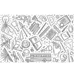 hand drawn education set doodle background vector image