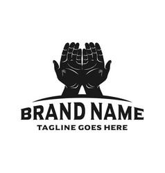 hand logo design vector image
