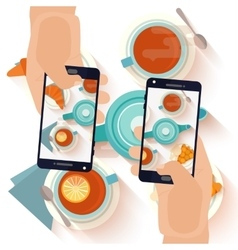 Hands making a smartphone photo of breakfast vector