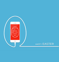 happy easter with phone wire and egg celebration vector image