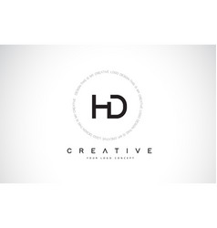 Hd h d logo design with black and white creative vector
