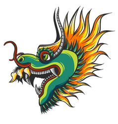 Head of a colorful chinese dragon vector