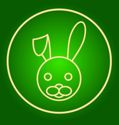 Head of a hare a rabbit in a neon circle easter vector