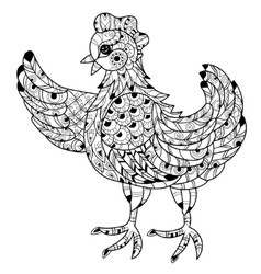 Hen Hand drawn decorative farm animal vector image